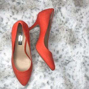 Orange suede heels